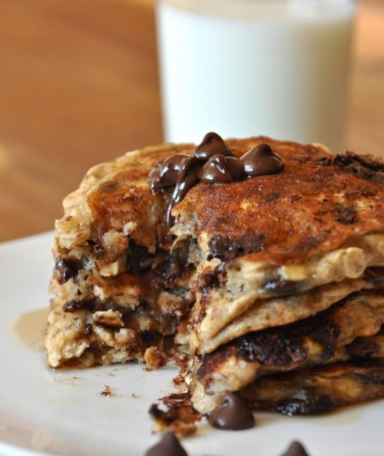 Plate of Chocolate Chip Oatmeal Cookie Pancakes with almond milk