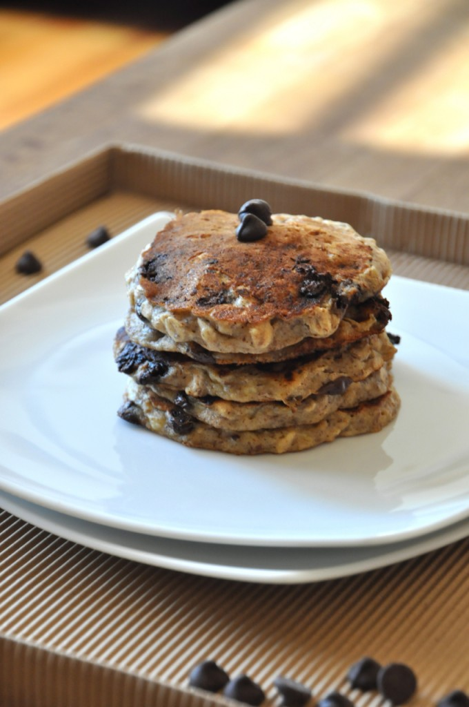 Stack of homemade vegan Chocolate Chip Oatmeal Cookie Pancakes