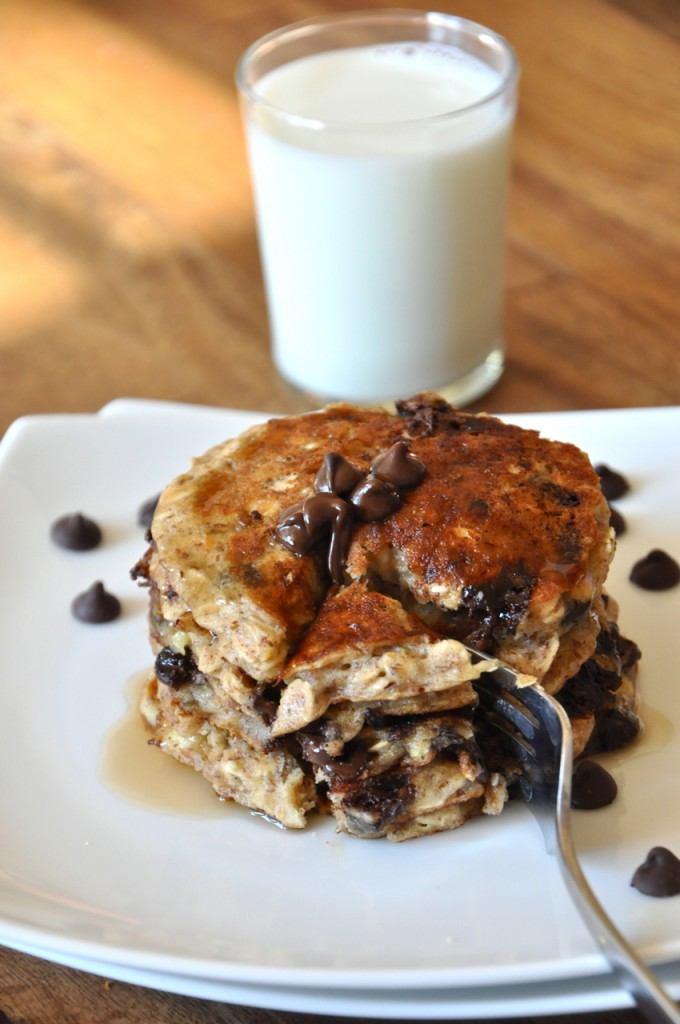 Stack of Chocolate Chip Oatmeal Pancakes and a glass of almond milk
