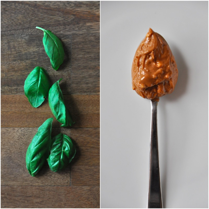 Fresh basil and a spoonful of peanut butter for making a delicious vegan sandwich