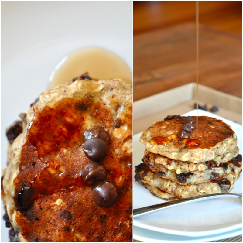 Drizzling syrup onto a stack of Chocolate Chip Oatmeal Cookie Pancakes for a delicious vegan breakfast