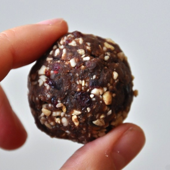Close up shot of a Chocolate Cashew Cookie Larabar Bite held between two fingers