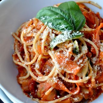 Bowl of our super simple Pasta with Sun-Dried Tomato Sauce recipe