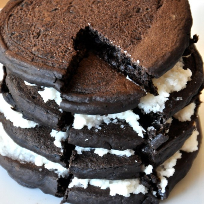 Big stack of our homemade Oreo Cookie Pancakes recipe