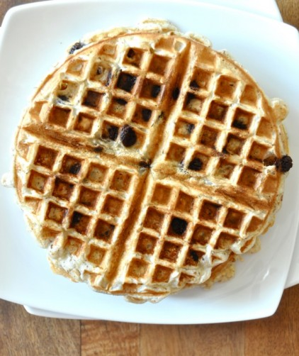 Vegan Chocolate Chip Banana Bread Waffle on a big plate