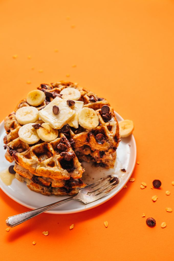 1-Bowl Chocolate Chip Banana Bread Waffles