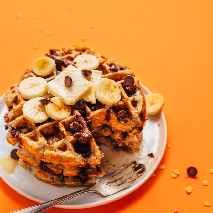 Overhead shot of a stack of Chocolate Chip Banana Bread Waffles