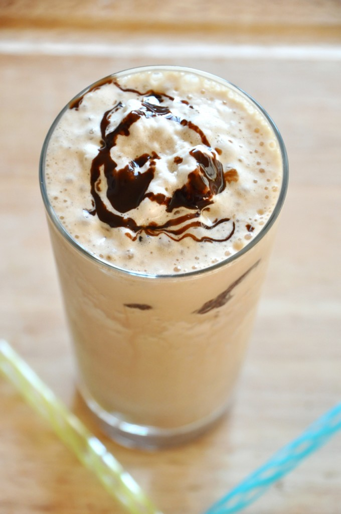 Tall glass of our Cold Brew Mocha Frappe recipe for a refreshing treat