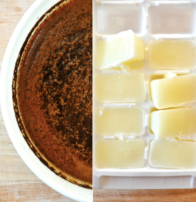 Cold brew coffee and milk ice cubes for making a Cold Brew Mocha Frappe