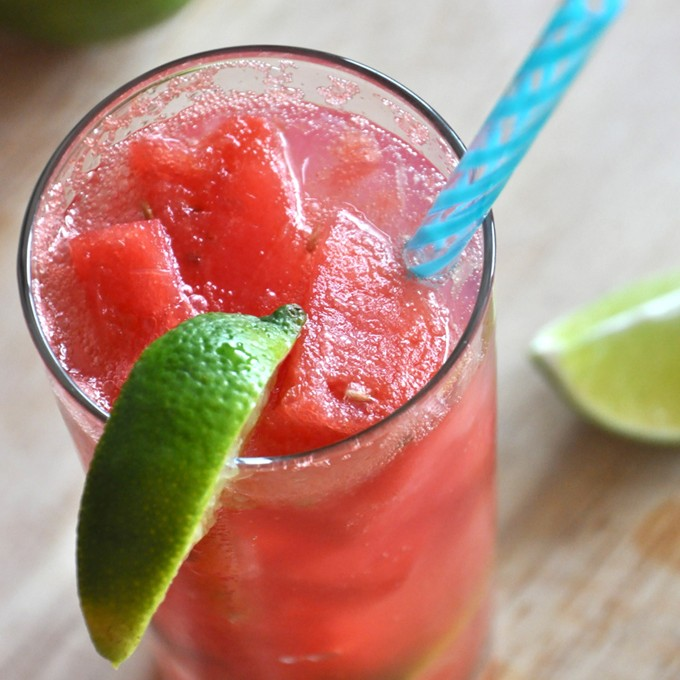 Glass of Watermelon Limeade Cocktail for a simple summer drink