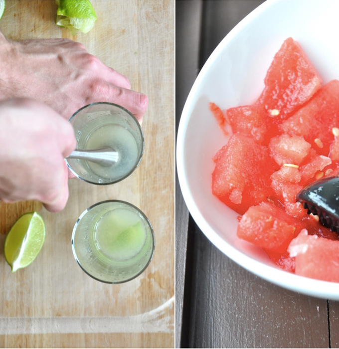 Using a muddler to infuse lime into our Watermelon Limeade Cocktails