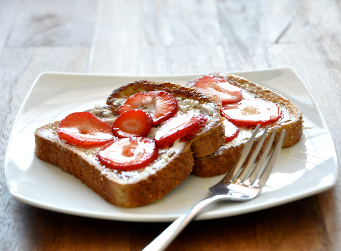 Plate with two slices of our Strawberry Danish French Toast recipe