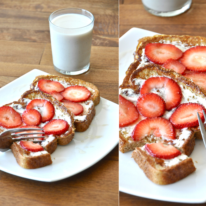 Grabbing a bite of our delicious Strawberry Danish French Toast recipe