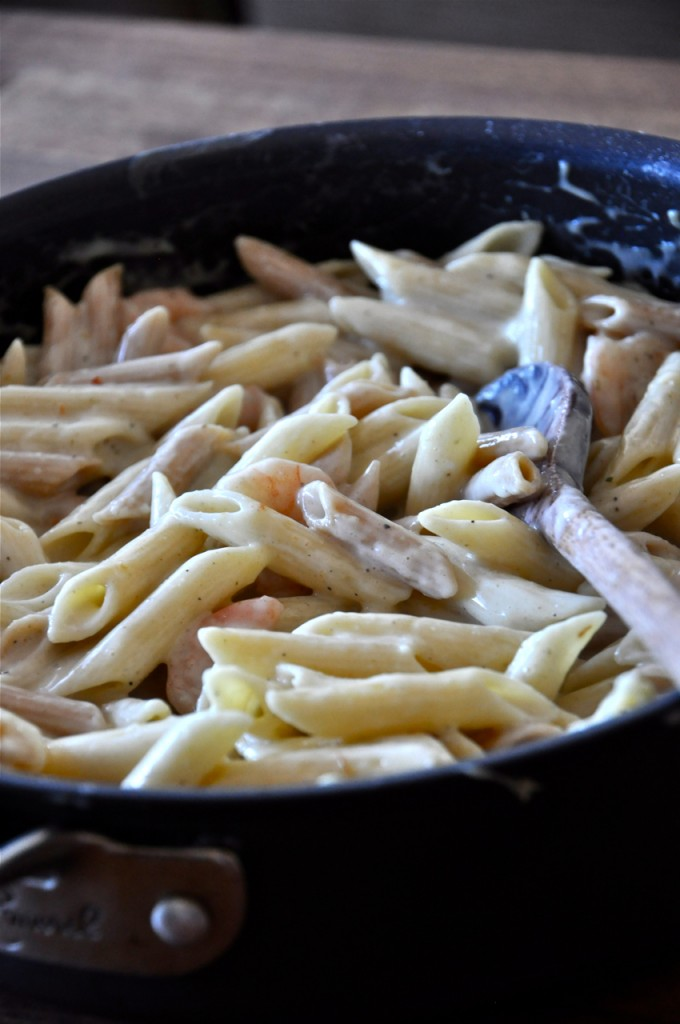 Big pan of Healthy Alfredo Pasta with Shrimp