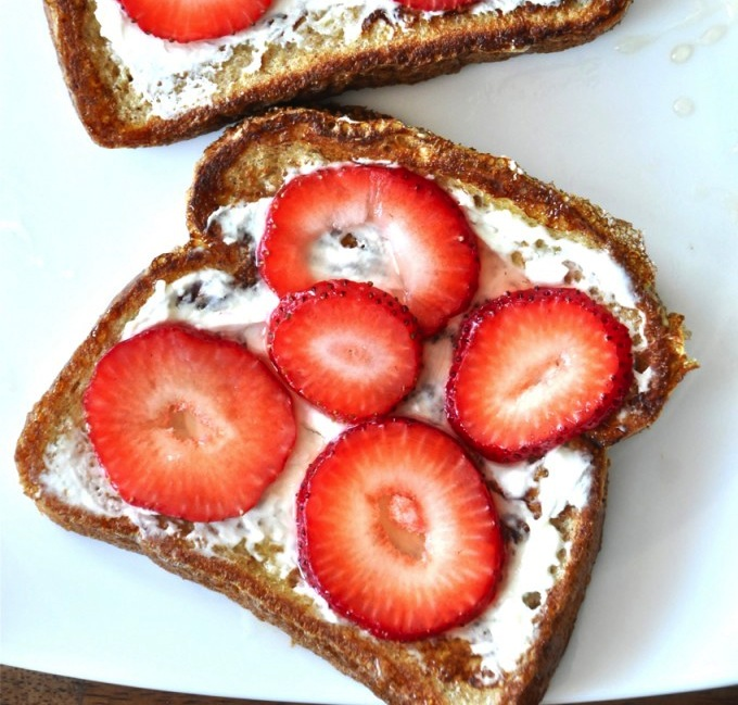 Slices of Strawberry Danish French Toast on a plate