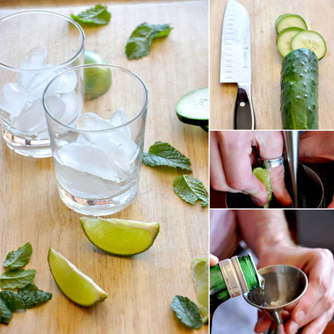 Series of photos showing how to make Cucumber Cooler Cocktails