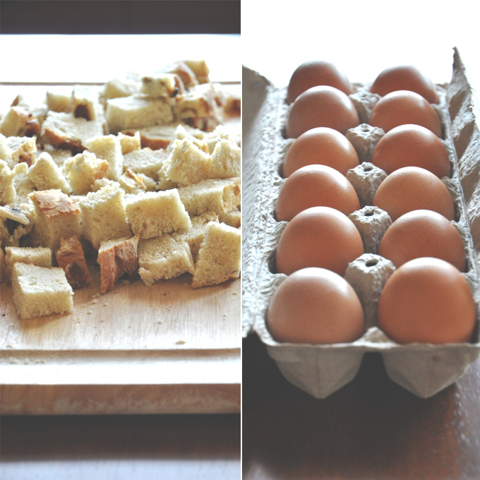 Cubes of bread and eggs for making Pumpkin French Toast Bake