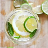 Stemless wine glass filled with our recipe for Mint and Citrus White Wine Sangria