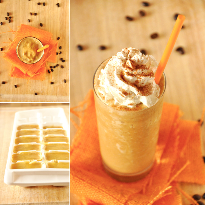 Pumpkin ice cubes and homemade Pumpkin Frappuccinos with and without whipped cream
