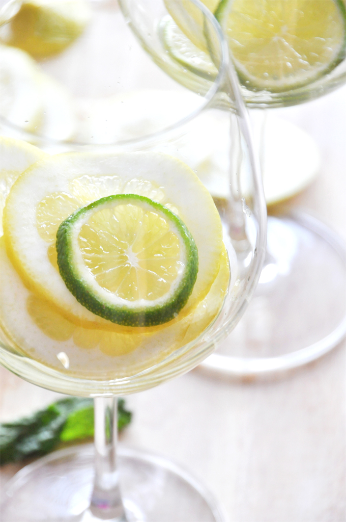 Wine glasses with fresh lemon and lime slices for making our homemade White Wine Sangria recipe
