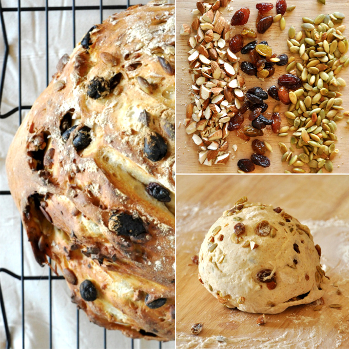 Collection of photos showing how to make our homemade Muesli Bread recipe