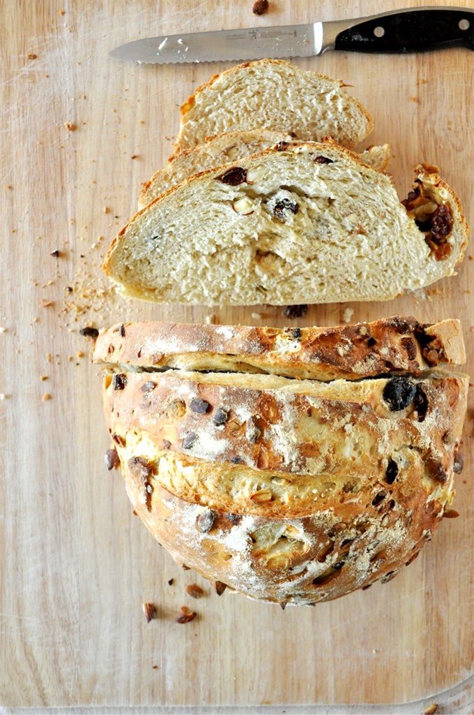 Partially sliced loaf of our homemade Muesli Bread recipe