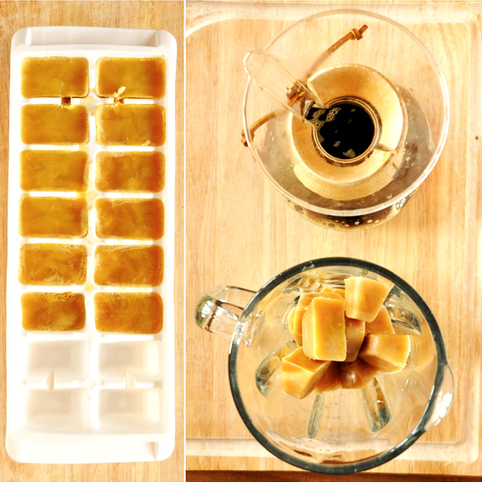 Ice cube tray with pumpkin milk ice cubes and coffee for making homemade Pumpkin Frappuccinos