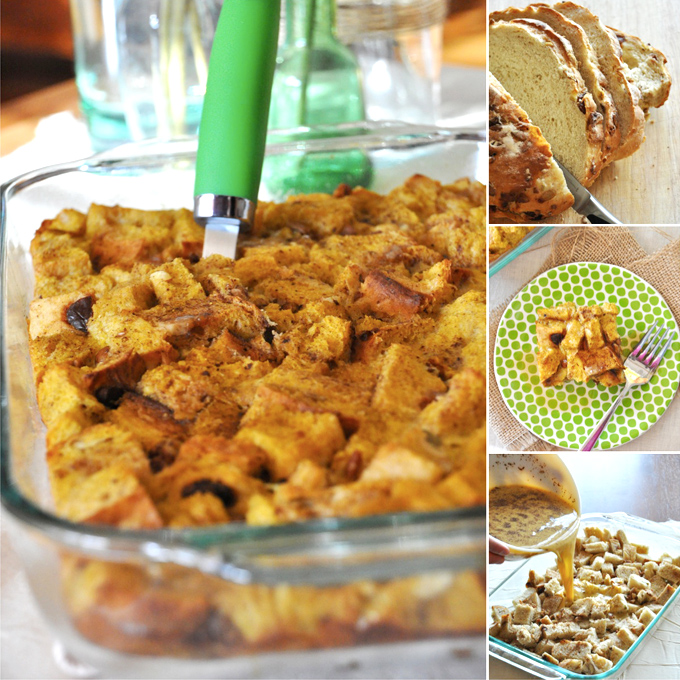 Series of photos showing the progression of making our Pumpkin French Toast Bake