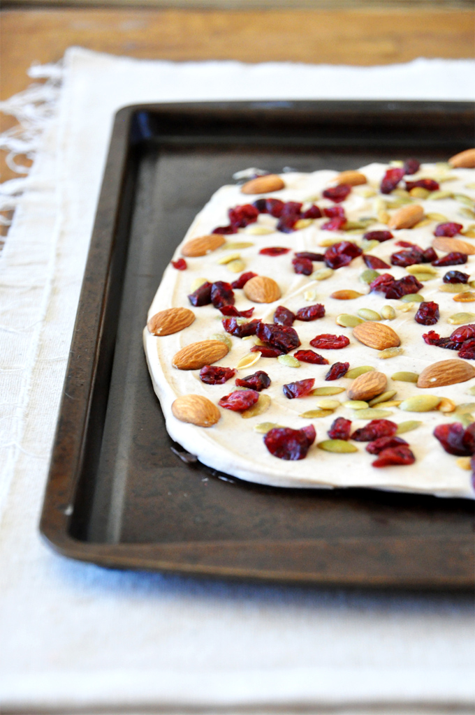 Baking sheet with a batch of our homemade Pumpkin Bark recipe