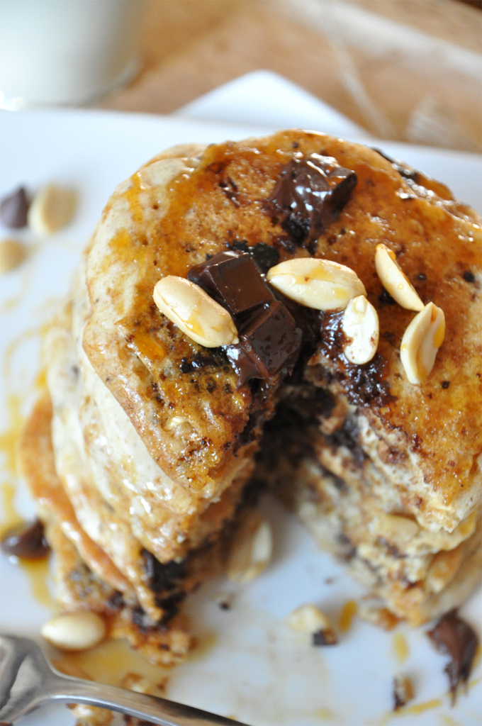 Close up shot of homemade Snickers Pancakes for a delicious vegan breakfast