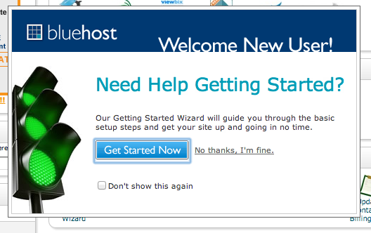 Getting started page for setting up Bluehost