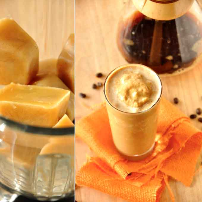 Blender and glass filled with our delicious homemade Pumpkin Frappuccino recipe
