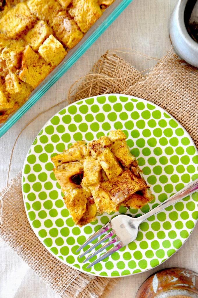 Slice of Pumpkin French Toast Bake for a delicious make ahead breakfast