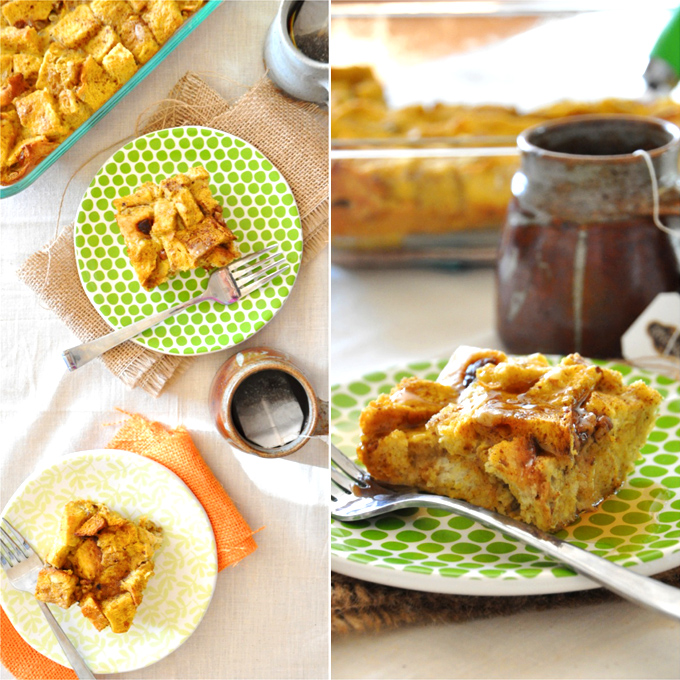 Plates with squares of our Pumpkin French Toast Bake for a simple make ahead breakfast