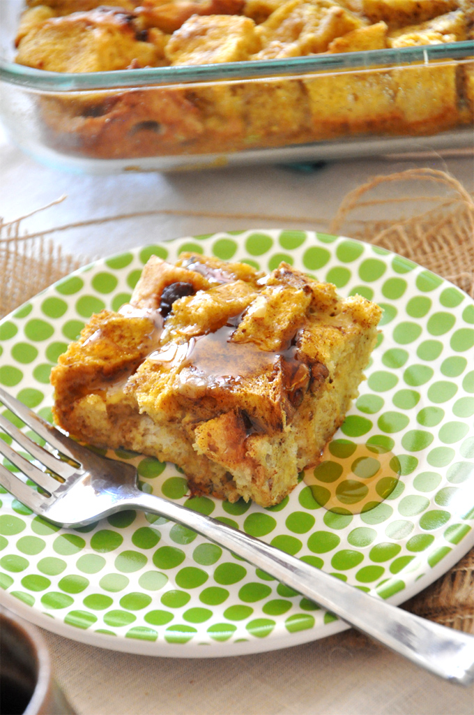 Plate with a slice of our Pumpkin French Toast Bake recipe