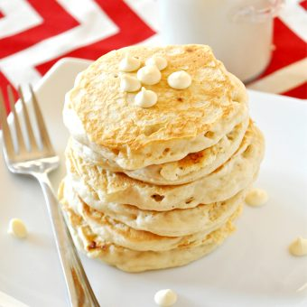 Stack of delicious White Chocolate Macadamia Nut Pancakes that taste like cookies