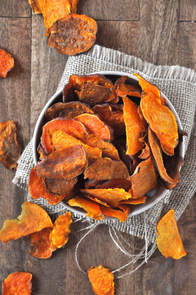 Bowl of crispy homemade Baked Sweet Potato Chips
