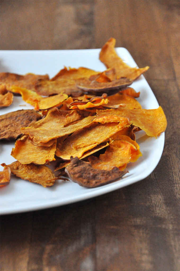Plate of homemade sweet potato chips made with a vegetable peeler