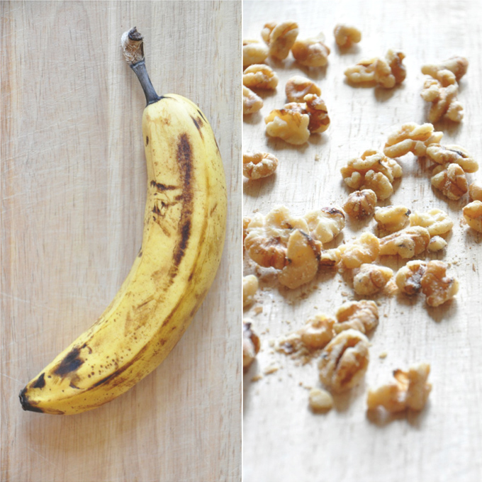 Banana and walnuts for making super simple Vegan Banana Nut Muffins