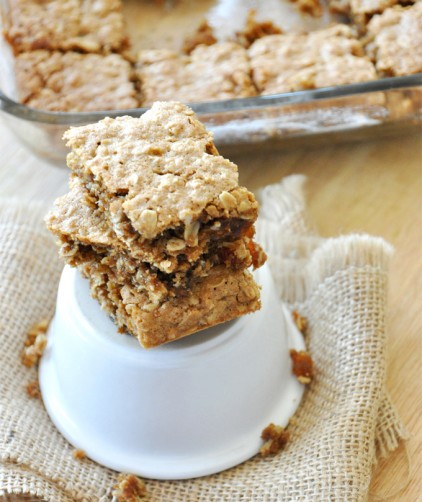 Stack and pan of our delicious and simple Oatmeal Raisin Bars