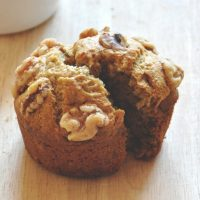 Vegan Banana Nut Muffin split in half
