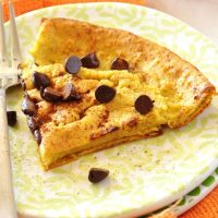 Plate with a slice of our Pumpkin Chocolate Chip Dutch Baby recipe