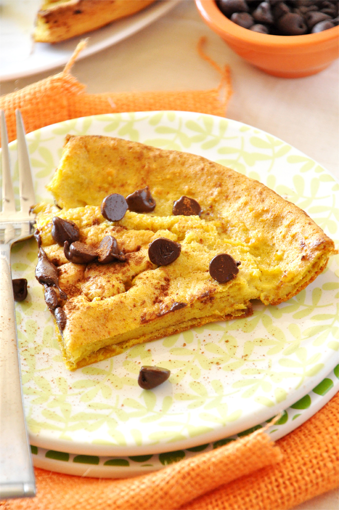 Plate with a slice of our homemade Pumpkin Chocolate Chip Dutch Baby recipe