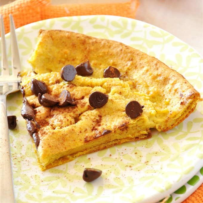 Plate with a slice of Pumpkin Chocolate Chip Dutch Baby for a simple and delicious breakfast