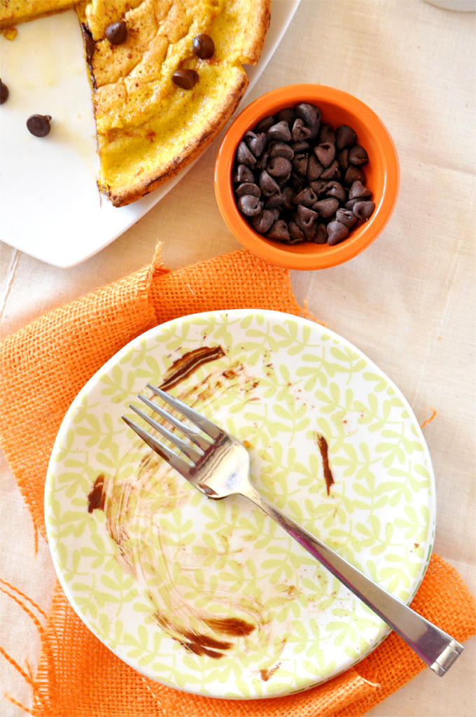 Empty plate that once held a slice of gobbled up Pumpkin Chocolate Chip Dutch Baby