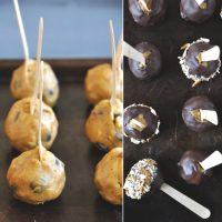 Baking sheets of Pumpkin Cookie Dough Pops with and without the chocolate layer