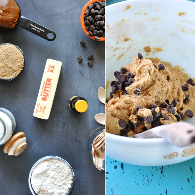 Ingredients and a bowl of dough for our Pumpkin Cookie Dough Pops recipe