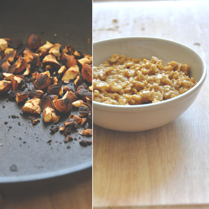 Pan of toasted almonds and bowl of oats for making a delicious breakfast recipe