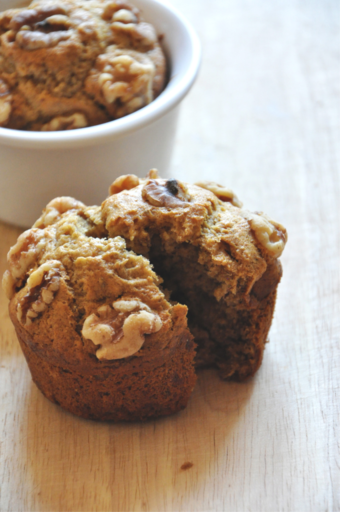 Close up shot of a batch of our Vegan Banana Nut Muffins for 2 recipe