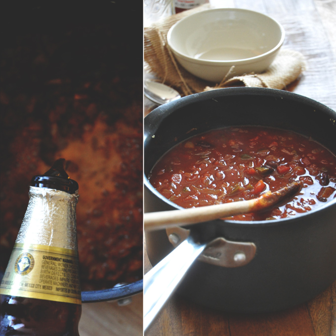 Making a big pot of our Vegan Beer Chili recipe